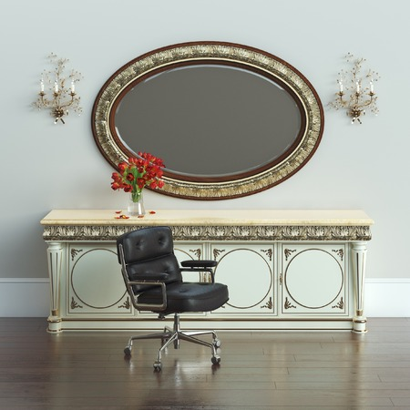 nifty: Vintage dressing table with carved framed mirror and armchair