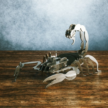 machine made: Military robot scorpion made from metal by modern cut machine Stock Photo