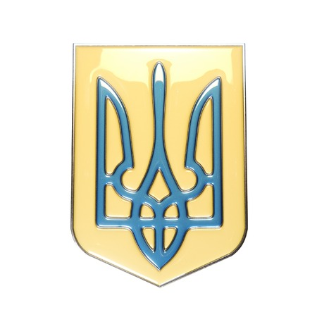 rada: Coat of arms of Ukraine made of metal in yellow-blue color