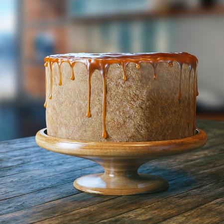 pastel de chocolate: Vegana pastel producto natural con jarabe de azúcar en la parte superior