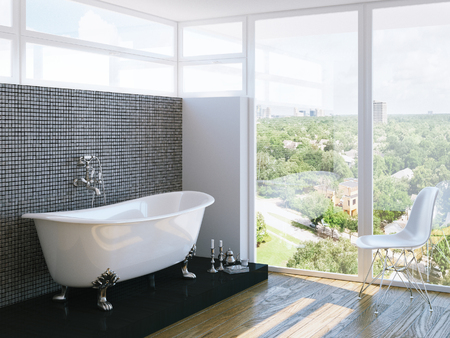 modern bathroom in bright interior with big window Stock Photo