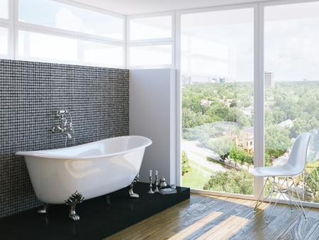 bathroom: moderno cuarto de baño en el interior luminoso con ventana grande