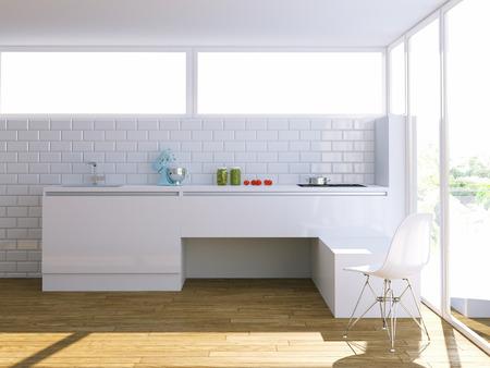 modern white kitchen in bright interior Stock Photo