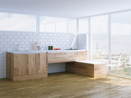 home life: modern wooden kitchen interior with panoramic window
