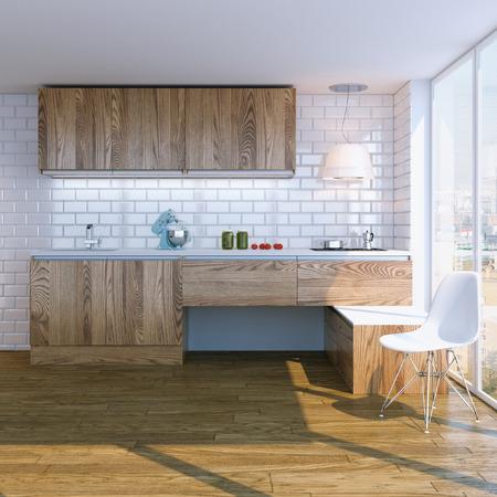 white interior: modern wooden kitchen interior with white chair
