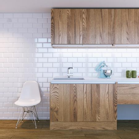 cucina moderna: moderna tra cucina in legno Archivio Fotografico