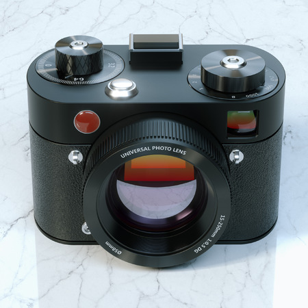 exist: Vintage camera on marble desk this camera does not exist
