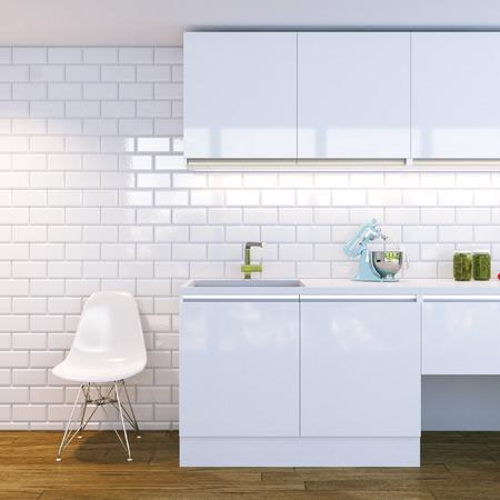 white kitchen: modern white kitchen interior Stock Photo