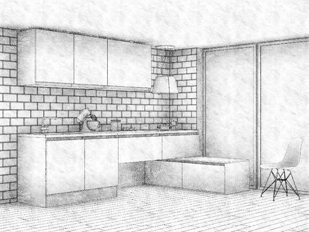 modern kitchen: Pencil sketch of modern kitchen interior with big window Stock Photo