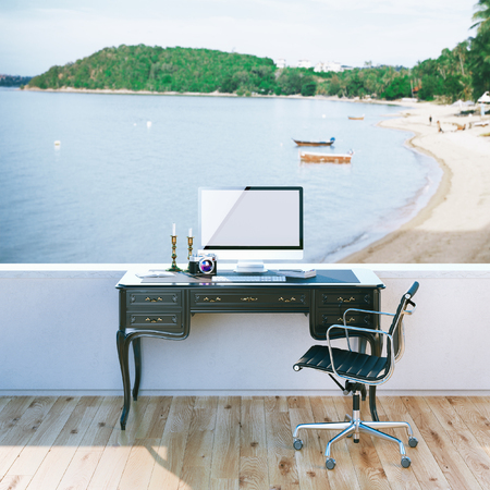 luxury apartment: mock up poster of travel blogger work desktop with beach view, 3D render