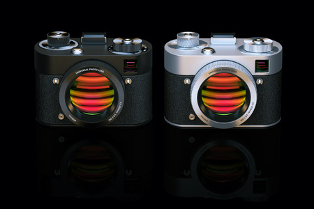 film shooting: Two different photo cameras in black studio. 3D render