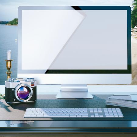 mock up: mock up poster of photographer work desktop, 3D render Stock Photo