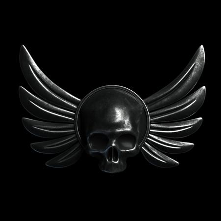 Vintage Biker Skull with metal Wings on black background. 3d render