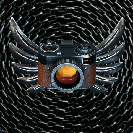metal chain: Vintage film photo camera with metal Wings on metal chain background. 3d render Stock Photo