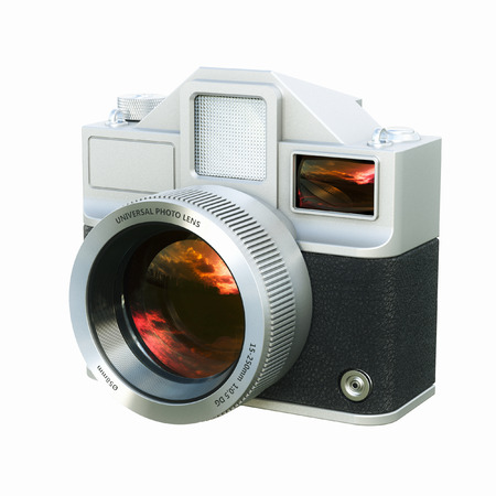 viewfinder vintage: Vintage film photo camera isolated on white . 3d render