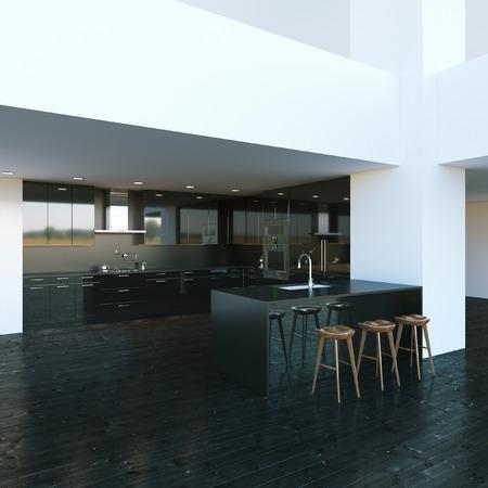 kitchen furniture: Black modern kitchen furniture in big interior. 3d render