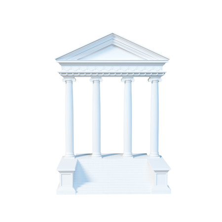 old frame: Architecture greek building isolated on white background. 3d render Stock Photo