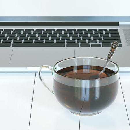 glass cup: Laptop and glass cup of hot tea on white hardwood table. Front view. 3d render