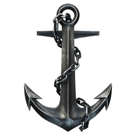 cadenas: Negro ancla de hierro sobre fondo negro. 3d