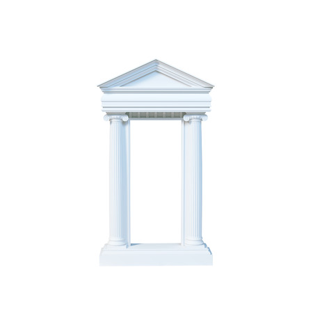 3d temple: Antique marble temple front with ionic columns isolated on white background. 3d render