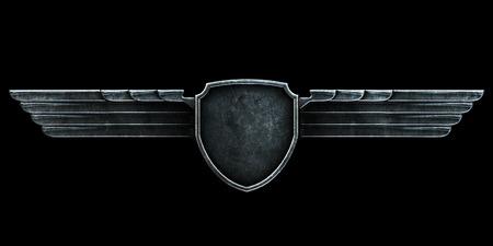 acero: alas de metal negro sobre fondo negro vista frontal. 3d