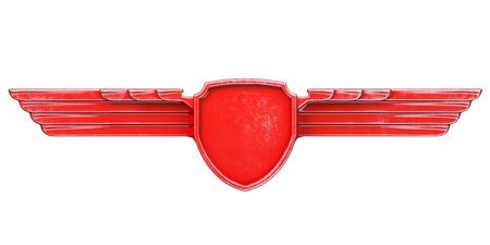 acero: alas de metal aisladas sobre fondo blanco Vista frontal de color rojo pintado. 3d Foto de archivo