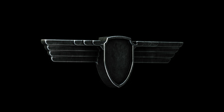 creative force: Black metal wings isolated on black background right view. 3d render