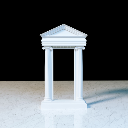 3d temple: Antique marble temple front with ionic columns on marble. 3d render