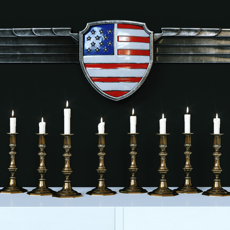 illuminate: Flag of the United States of America are decorated with design vintage metal frame. Lots of candles illuminate the composition. 3d render Stock Photo