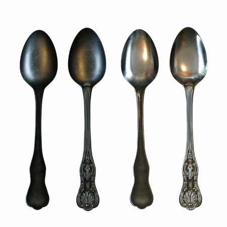 knife fork: Vintage silver spoons isolated on white background. 3d render Stock Photo