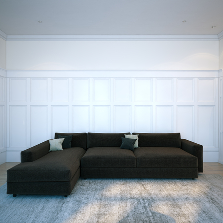 hardwood flooring: Black cozy sofa in modern interior room with hardwood flooring. 3d render