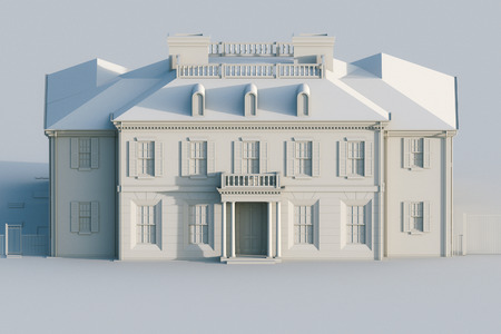 mansion: Classic mansion house. Computer visualization in grey colors. 3d render Stock Photo