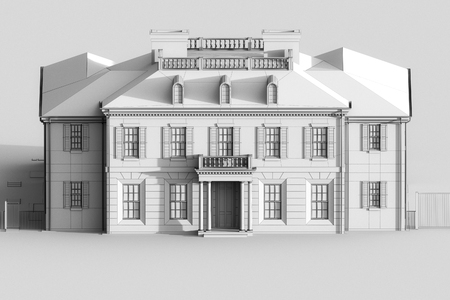 exterior element: 3d sketch of luxury mansion house. Grey color. 3d render