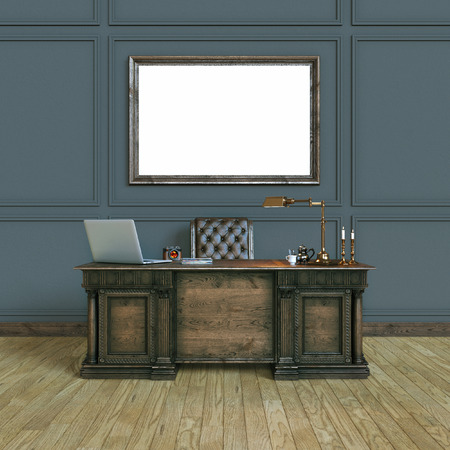 office cabinet: Luxury classic wooden office cabinet with mock up poster. Top view version. 3d render