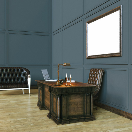 office cabinet: Luxury classic wooden office cabinet with mock up poster. And black vintage sofa. 3d render