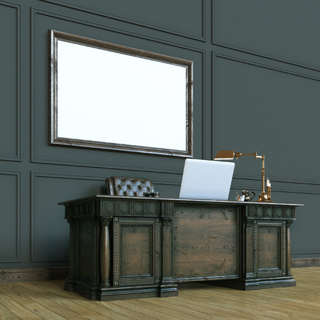 office cabinet: Luxury classic wooden office cabinet with mock up poster. Perspective view version. 3d render Stock Photo