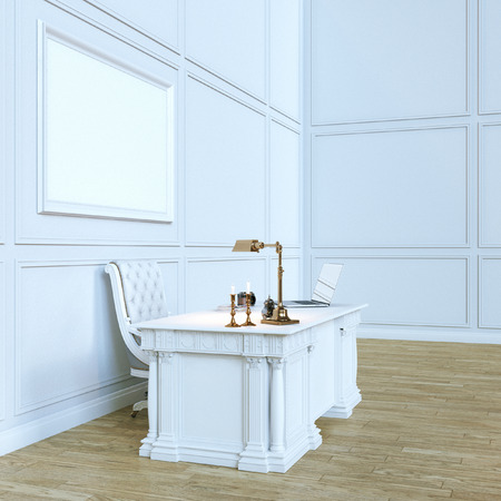 office cabinet: White luxury wooden office cabinet with mock up canvas. Perspective  view version. 3d render Stock Photo