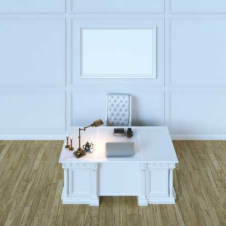 office cabinet: White luxury wooden office cabinet with mock up canvas. Top view version. 3d render Stock Photo