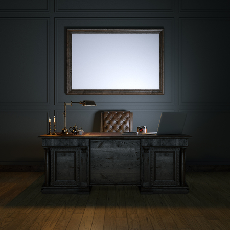 Classic luxury cabinet with wooden table and leather armchair. Mock up picture. Dark top version. 3d render