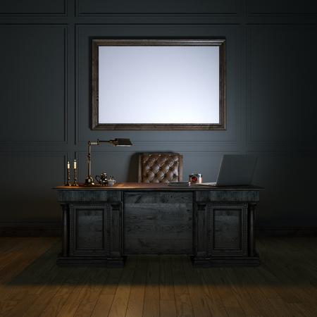 Gabinete de lujo clásico con mesa de madera y sillón de cuero. Burlarse de imagen. versión tope oscuro. 3d Foto de archivo - 51111753
