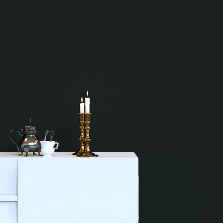 Two copper chandeliers on white table with coffee pot and porcelain stock photo two copper chandeliers on white table with coffee pot and porcelain cup 3d render aloadofball Gallery