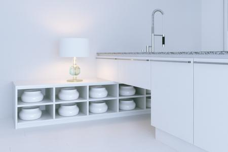 expensive granite: White hi-tech kitchen interior design. Close-up 3d render Stock Photo