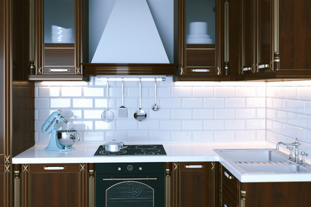 expensive granite: Classic wooden kitchen furniture close-up 3d render Stock Photo