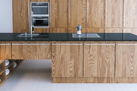 expensive granite: Hi-tech kitchen interior design. Close-up 3d render