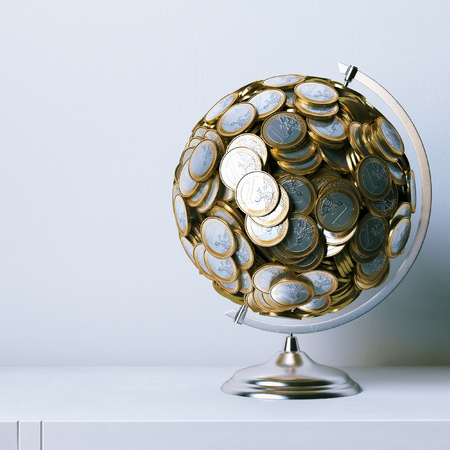 metaphoric: Globe created of euro coins - metaphoric picture 3d render Stock Photo