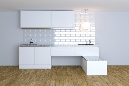 nobody real: 3D Render  White Contemporary Kitchen in White Interior