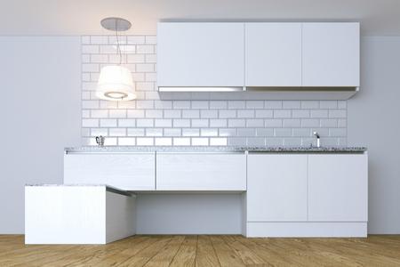 lighting fixtures: 3D Render  White Contemporary Kitchen in White Interior