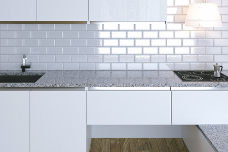 contemporary kitchen: 3D Render Close Up White Contemporary Kitchen in White Interior Stock Photo