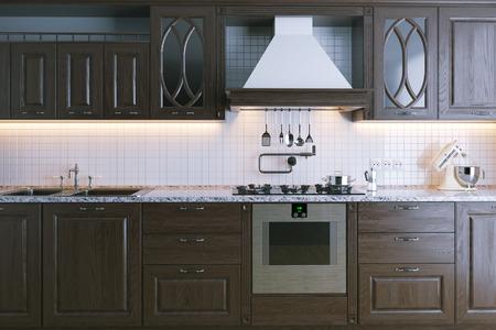 Classic wooden kitchen furniture. Close-up. 3d render Standard-Bild