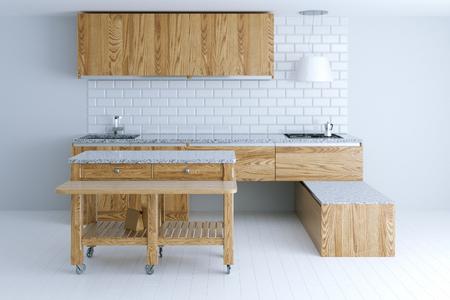 Idea perfetta per la progettazione di interni in cucina con mobili in legno. Vista frontale. Rendering 3d